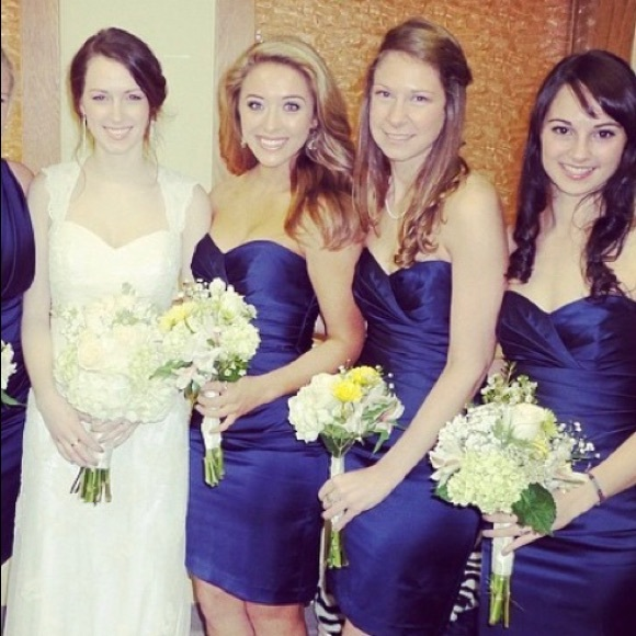 David's Bridal Dresses & Skirts - Navy Strapless Bridesmaid Dress